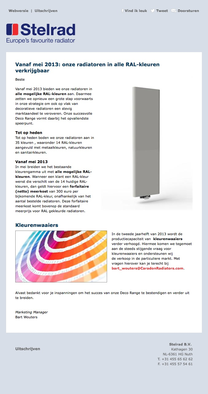 Stelrad RAL-kleuren NL
